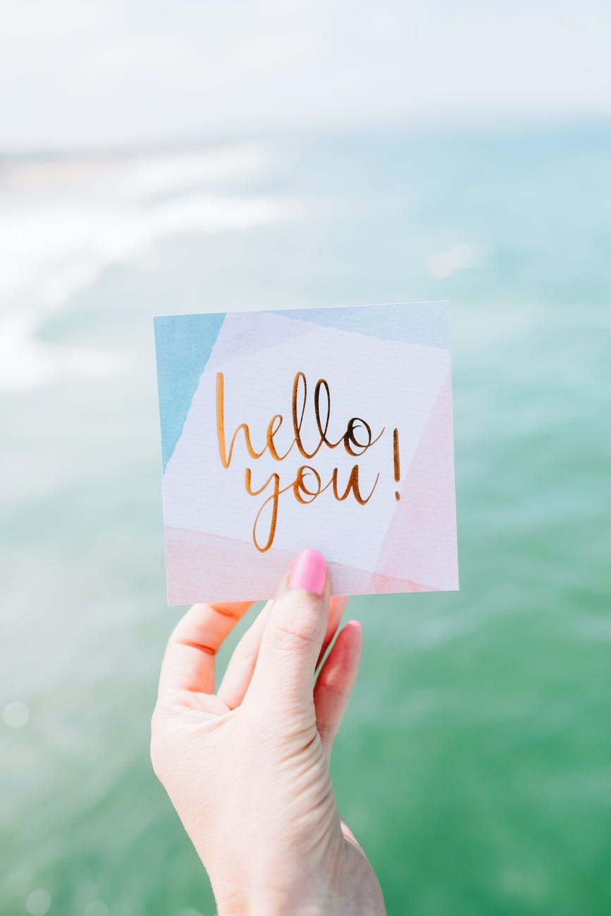 white and pink hello you card